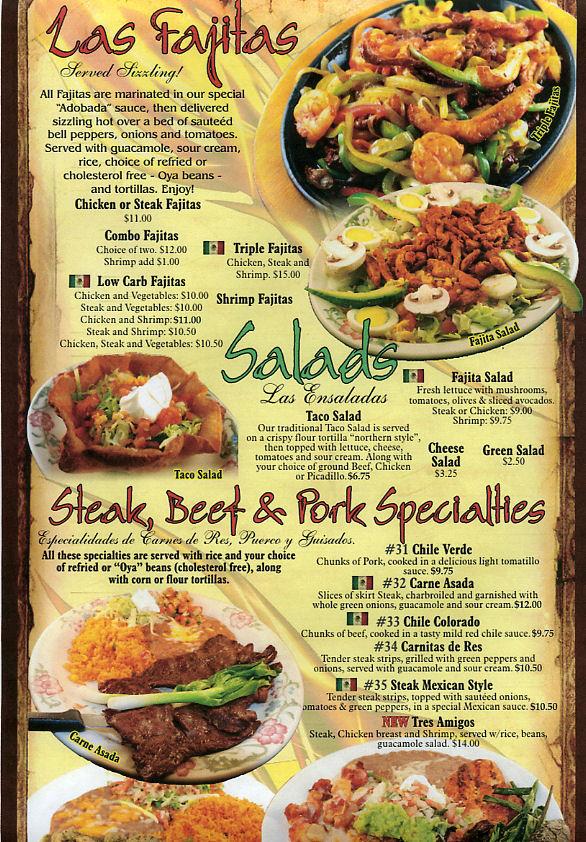 casa de oro mexican restaurant menu page 4